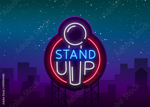 Stand up logo in neon style comedy show is neon sign symbol an stand up logo in neon style comedy show is neon sign symbol an stopboris Choice Image