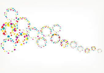 Bright vector circles background. Color abstract vector background with rainbow bubbles.