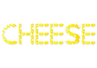 funny vector illustration of cheese notice made of cheese slices, alphabet letters of cheese pieces with holes isolated on white background, flat design background