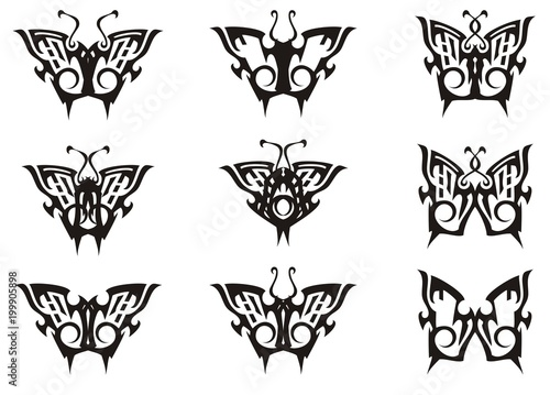 Tribal Butterfly Set In Black And White Tones Collection Of Simple