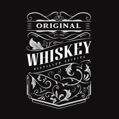Whiskey label hand drawn vintage border typography blackboard vector