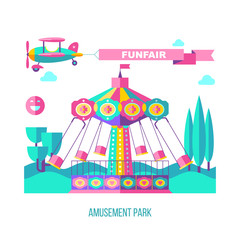 Amusement Park, rides. Vector illustration.