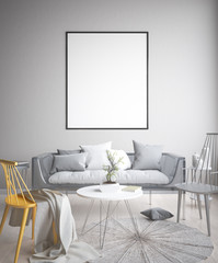Mock up poster, Scandinavian living room concept design, 3d render