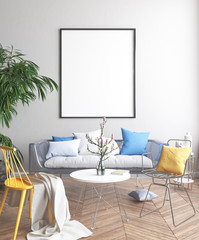 Mock up poster, Scandinavian living room concept design, 3d render
