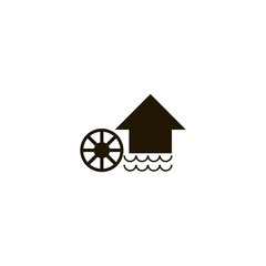 Watermill icon. flat design