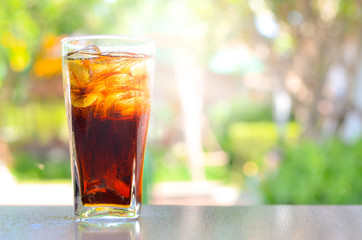 Cola in glass on holliday time