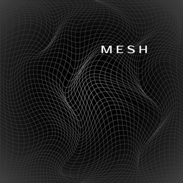 Abstract deformation of net. Wavy mesh structure. Vector illustration isolated on dark