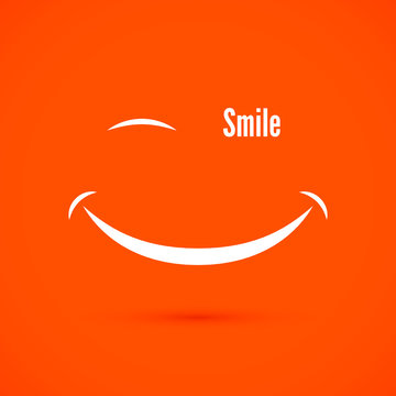 White smile icon on warm orange color background. Text smile instead of eye. isolated vector illustration