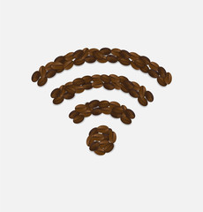 Wireless wifi hotspot sign  connection made with coffee beans