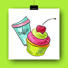 Cartoon cupcake with cherry. Hand drawn colorful vector illustration. Isolated on white. Doodle art. Take away coffee cup and yummy dessert. Element for poster, banner, menu, flyer, label, card.