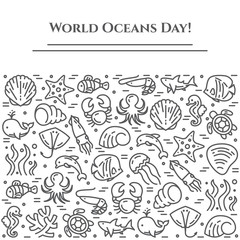 World oceans day theme black and white banner - pictograms of fish, shell, shark, dolphin, turtle and other sea creatures related line elements.