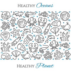 World oceans day theme black and blue banner - pictograms of fish, dolphin, shell, shark, turtle and other marine line elements.