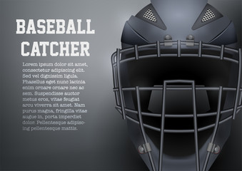 Poster of Catcher Mask Helmet for Baseball and Softball Games. Sport equipment and gear. Vector Illustration