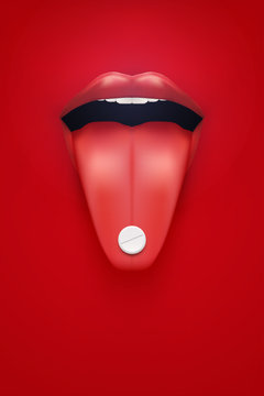Poster of pills and vitamins. Woman red lips and tongue with pils. Industry medicine and pharmaceutics. Vector Illustration.