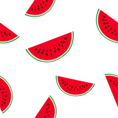 Seamless Pattern with Slice of Watermelon, Juicy Fresh Slice of Half Watermelon, Summer Time, Vector Illustration