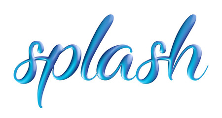 """word """"splash"""" with 3d effect and calligraphic font"""