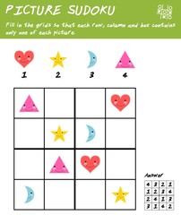 Picture sudoku game with basic shapes. Logic educational game. Kids activity sheet