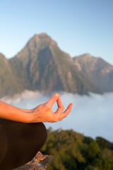 Wall Mural - Serenity and yoga practicing,meditation at mountain range
