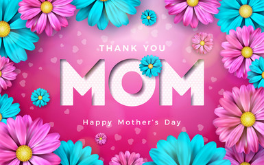 Happy Mothers Day Greeting card design with flower and typographic elements on pink background. I Love You Mom Vector Celebration Illustration template for banner, flyer, invitation, brochure, poster.