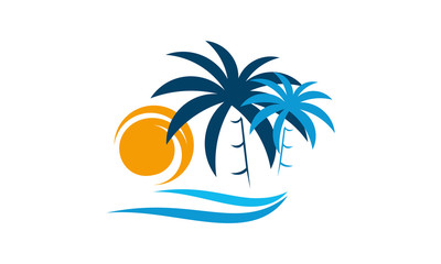 Palm Tree With ocean wave logo template vector, Travel logo template, Beach icon