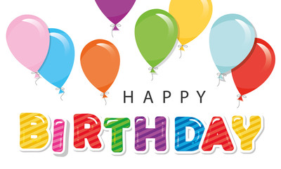 Happy birthday greeting card with balloons. For posters, banners, greeting cards, room decoration.