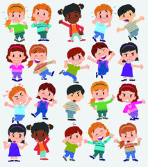 Cartoon character boys and girls. Set with different postures, attitudes and poses, doing different activities. Vector illustrations.