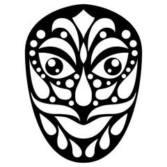 Tribal ethnik mask. Black and white illustration on white background