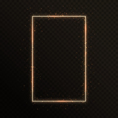 Gold frame with shining gold particles on a translucent background for Christmas decoration. Vibrant vector illustration