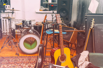 Rehearsal room with musical instruments