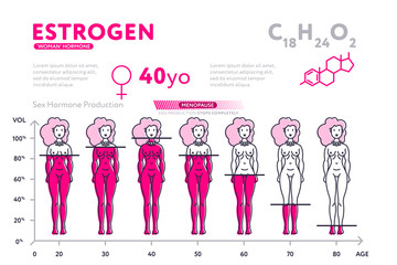 Ping infographic diagram showing content of hormone estrogen during life in female body.