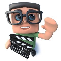 3d Funny cartoon nerd geek character holding a movie making clapperboard