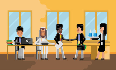 Business meeting african businessman with asian investor, secretary with coffee cups. Corporate multiethnic business people isolated vector illustration.