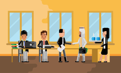 Business meeting asian businessman with arabic investor, secretary with coffee cups. Corporate multiethnic business people isolated vector illustration.