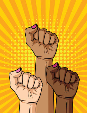 Vector retro pop art comic style illustration of woman's fist different nationalities and skin color. Vintage poster of a girl's power