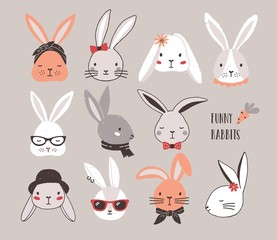 Collection of funny bunnies. Set of cute rabbits or hares wearing glasses, sunglasses, hats and scarves. Bundle of heads or faces of cartoon animals isolated on light background. Vector illustration.