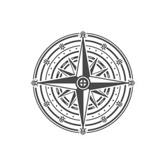 Ancient wind rose isolated on white background. Nautical navigation and cartography symbol vector illustration.