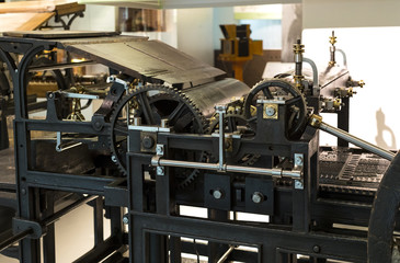VIENNA, AUSTRIA - 24 AUGUST 2017:The technical museum in Vienna exhibits the production exposition is dedicated to printing technology.