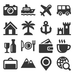 Travel and Transport Icons Set. Vector