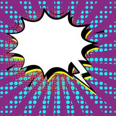 Retro comic speech bubbles. Cartoon of blank template in Pop Art style. Halftone background. Vector