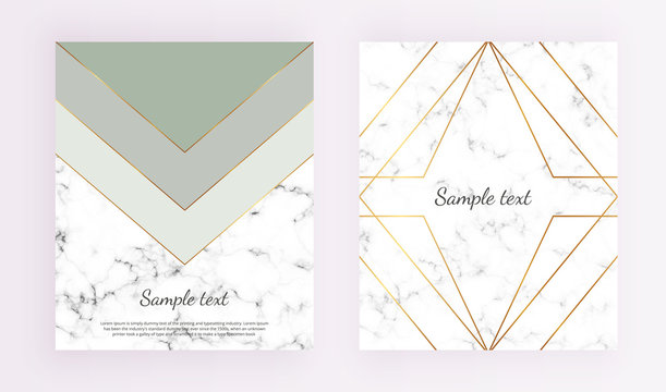 Geometric cover designs, triangles with gold line frame, green and grey colors and marble texture background. Template for design invitation, card, banner, wedding, baby shower, placard, party