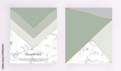 Geometric cover designs triangles with gold green and grey colors geometric cover designs triangles with gold green and grey colors and marble texture background stopboris Gallery