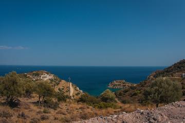 Landscape with sea bay on island of Aegina in Saronic Gulf, Greece