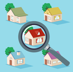 House Search Magnifying Glass Illustration