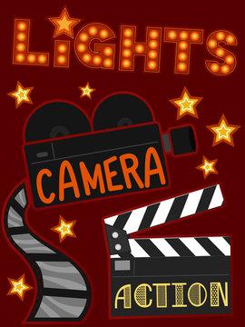 Lights Camera Action Illustration