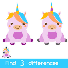 Find the differences educational children game. Kids activity sheet with cute unicorn