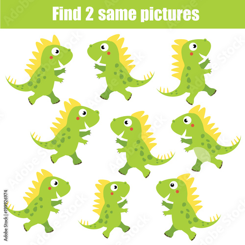 Find the same pictures children educational game. Animals theme, green dinosaurs