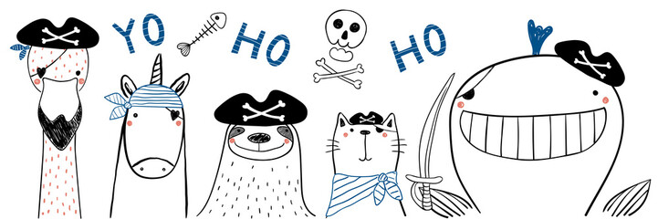 Foto op Canvas Illustraties Hand drawn portrait of a cute funny pirate animals in tricorne hats, with eye patches. Isolated objects on white background. Line drawing. Vector illustration. Design concept for children print.