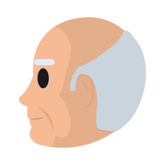 elderly man head on side with hair