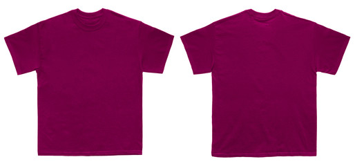 Blank T Shirt color maroon template front and back view on white background