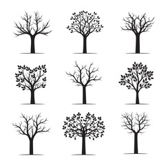 Set black naked Trees. Vector Illustration.